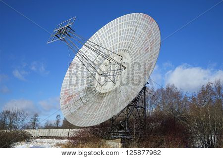 The radio telescope of the Pulkovo astronomical observatory of the sunny february day. St. Petersburg