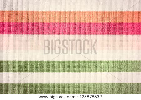 Vintage photo Colorful fabric as background striped tablecloth