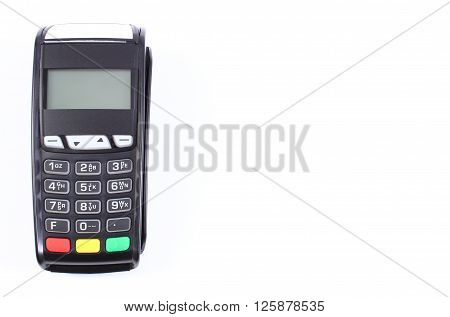 Payment terminal credit card reader on white background  finance concept copy space for text or inscription