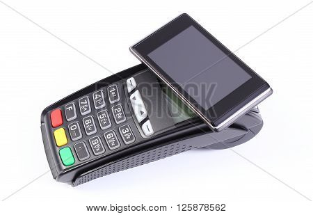 Payment terminal credit card reader with mobile phone with NFC technology paying