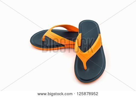 Colorful of Sandals shoes / Orange and black flip flops on white background.
