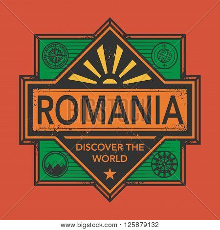 Stamp or vintage emblem with text Romania, Discover the World, vector illustration