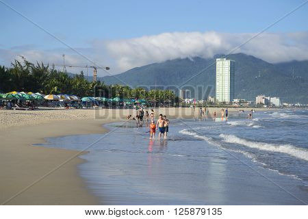 DA NANG, VIETNAM - JANUARY 04, 2016: City beach in Da Nang. One of the largest and most popular beaches of Vietnam