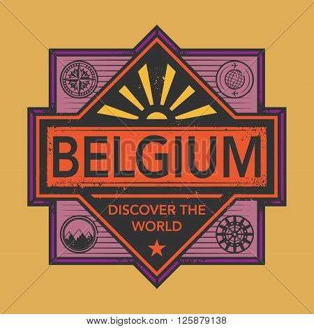 Stamp or vintage emblem with text Belgium, Discover the World, vector illustration