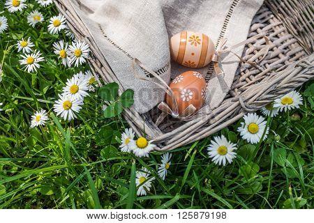 Painted Easter Eggs In Wicker Basket