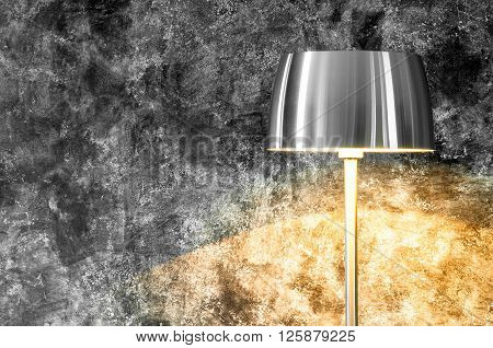 turn light on.Lamp Shade from Modern Black Metal Lamp Hanging on Gray Wall Background