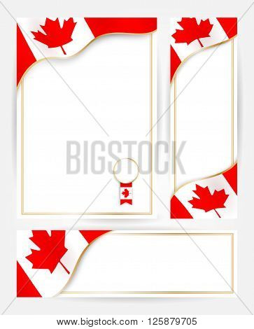 Design templates for flyers posters certificates and documents with flag of Canada