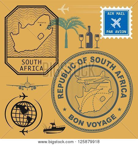 Stamps set with the name and map of South Africa, vector illustration