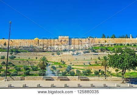 The medieval rampart hides the landmarks of the Temple Mount Jerusalem Israel.