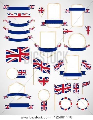 Banners labels ribbons icons badges and other vector design element with flag of Great Britain