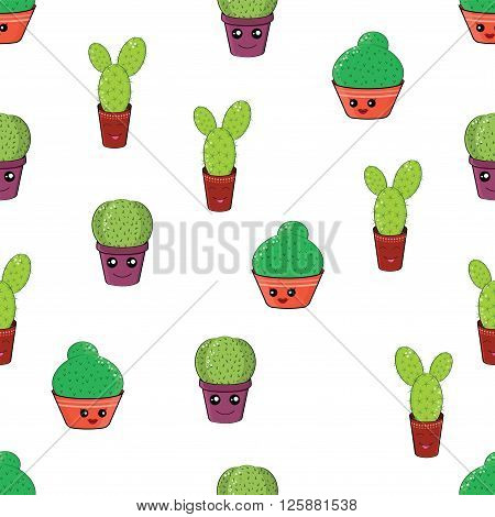 Seamless pattern with funny cactus.Hilarious family of cacti on a white background.Cute kawaii smiling cactuses.Baby and kids style abstract background.