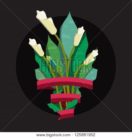 Cute bouquet of flowers. Wedding bouquet flowers, birthday bouquet flowers, vector illustration in flat design. Plant bouquet for event. Flower bouquet with ribbon for text.