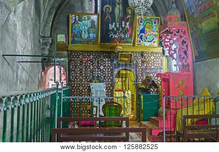 JERUSALEM ISRAEL - FEBRUARY 16 2016: The interior of the church of Ethiopian Monastery located on the roof of the Church of the Holy Sepulchre on February 16 in Jerusalem.