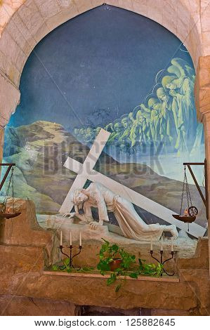 JERUSALEM ISRAEL - FEBRUARY 16 2016: The Polish Catholic Chapel in Via Dolorosa was built in place of the first fall of Jesus Christ with the Cross on February 16 in Jerusalem.