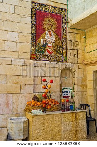 JERUSALEM ISRAEL - FEBRUARY 16 2016: The icon of glazed tile on the facade wall of Church of Our Lady of the Spasm on February 16 in Jerusalem.
