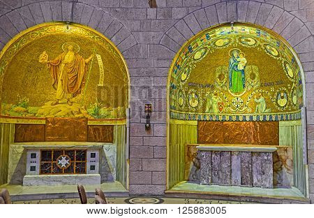 JERUSALEM ISRAEL - FEBRUARY 16 2016: The Chapels of Dormition Abbey Church were donated by different Christian countries on February 16 in Jerusalem.