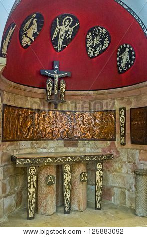 JERUSALEM ISRAEL - FEBRUARY 16 2016: The scenic altar in crypt of the Dormition Church was donated by Ivory Coast on February 16 in Jerusalem.