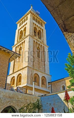 JERUSALEM ISRAEL - FEBRUARY 16 2016: The view on the huge bell tower from the courtyard of Lutheran Kirche of the Redeemer on February 16 in Jerusalem.