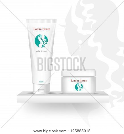 blank cosmetic package , isolated on white background.  Template Logo. Company logo design