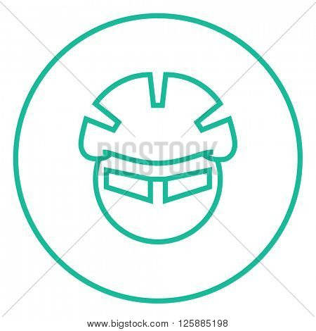 Man in bicycle helmet and glasses line icon.