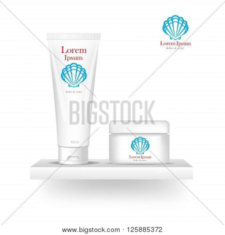 Packaging cosmetics, mock-up. Plastic Container. Package cream, Beauty products. Logo sell. Template Logo. Company logo design