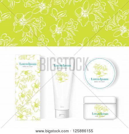 blank cosmetic collection set white package, mock-up. isolated on white background. Frangipani