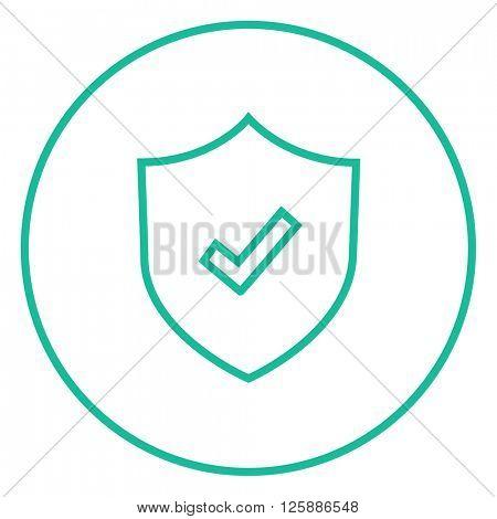 Shield with check mark line icon.