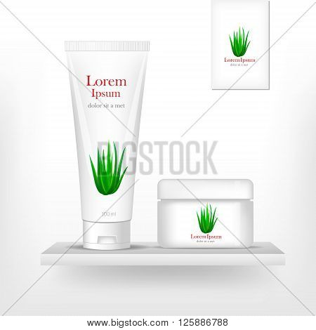 Packaging cosmetics, mock-up. Plastic Container. Package cream, Beauty products. Vector aloe.