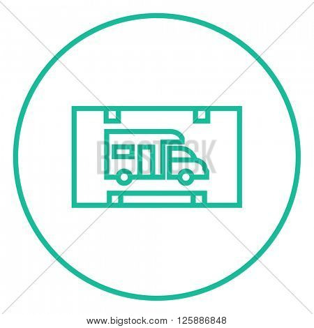RV camping sign line icon.