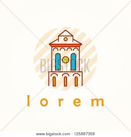 Tower and building thin line colorful vector icon. Cartoon logo, badge and label of town hall in antique, renaissance and byzantine style. Pike on striped background.