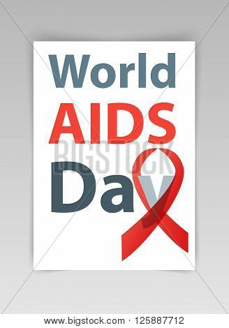 World aids day vector illustration. Red Aids Ribbon concept.