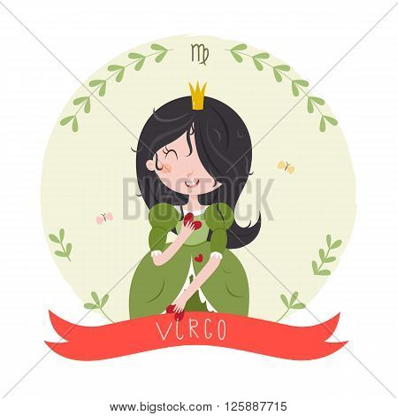 Cute horoscope. Zodiac signs. Virgo. Series of cartoon zodiac characters. Horoscope for kids or teens, template for card, invitation, calendar or etc. Vector illustration of the girl isolated on white background.