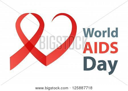 World aids day vector illustration. Red Aids Ribbon heart concept.