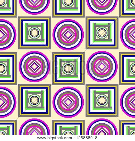 Colorful geometric pattern with circles and squares. vector seamless