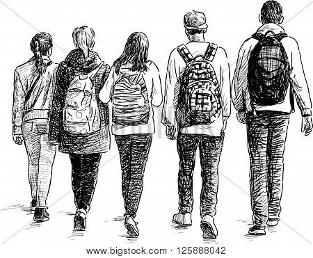 Vector drawing of the school children on a walk.