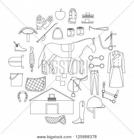 Circle filled with linear icons of equipment and care products for horses and special clothes for equestrian sport.