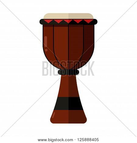 Flat icon of traditional African drum djembe. Vector illustration of ethnic percussion istrument.