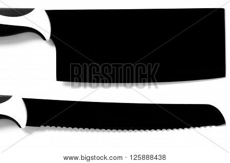 Black chef 's large knife for meat and bread isolated on white background