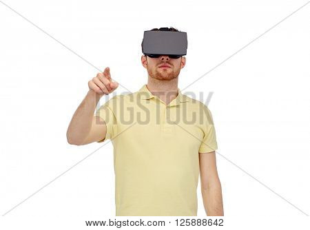 3d technology, virtual reality, entertainment and people concept - young man with virtual reality headset or 3d glasses playing game