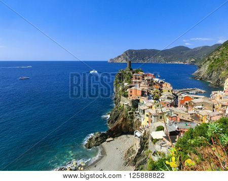 The view of Vernazza in Cinque Terre, Italy