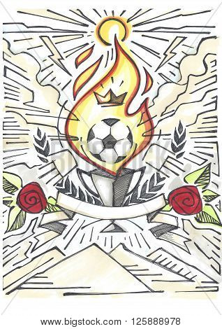 Hand drawn illustration or drawing of a soccer ball a trophee a ribbon and other elements