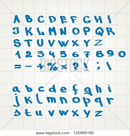 hand font Alphabet sketch vector abc set