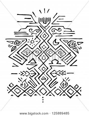 Hand drawn vector illustration or drawing of some religious symbols