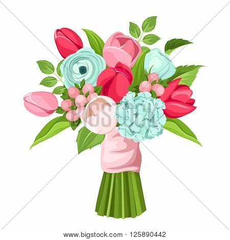 Vector bouquet of red, pink and blue tulips, ranunculus and hydrangea flowers isolated on a white background.