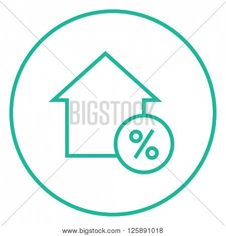 House with discount tag line icon.