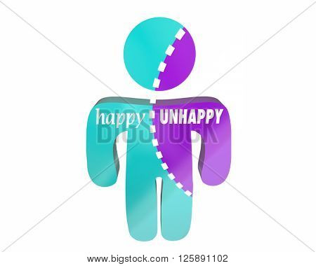 Happy Vs Unhappy Joy Emotions Sad Anger Person Bipolar Disorder 3d Words