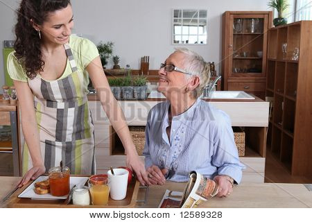 Home help with senior woman
