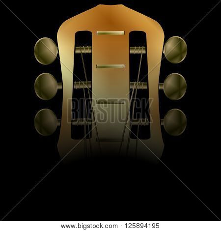 Vector illustration of musical background acoustic guitar closeup darkened neck. There is room to place text or an image.