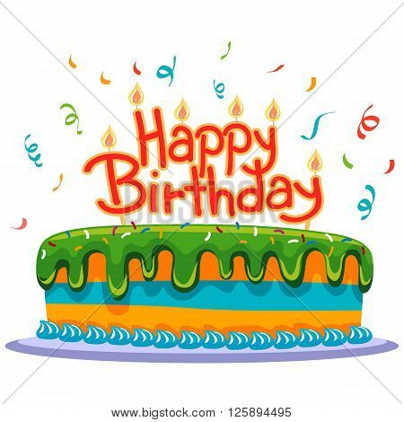 Vector Illustration of Birthday Cake with Confetti