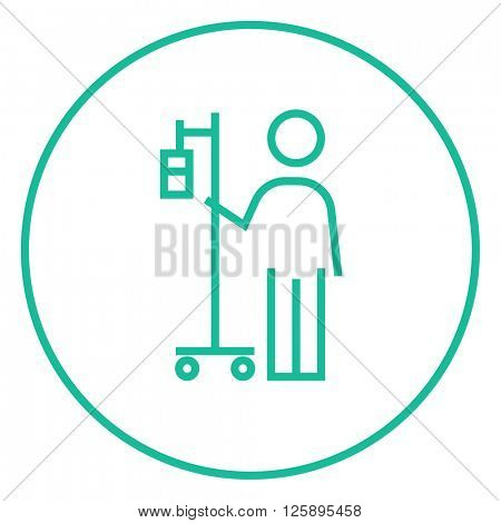 Patient standing with intravenous dropper line icon.
